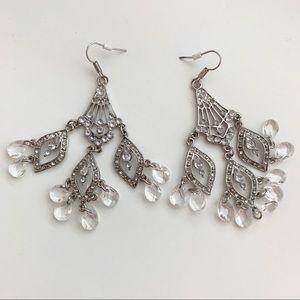 NWT✨NORDSTROM Diamond & Silver Dangle Earrings